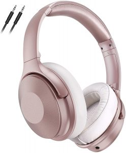 Pink Noise Cancelling Headphones, 45Hrs Playtime Wireless 5.0 Headphones Over Ear with Microphone
